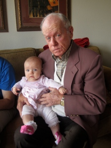 Addie Kate and Great Grandpa Frank